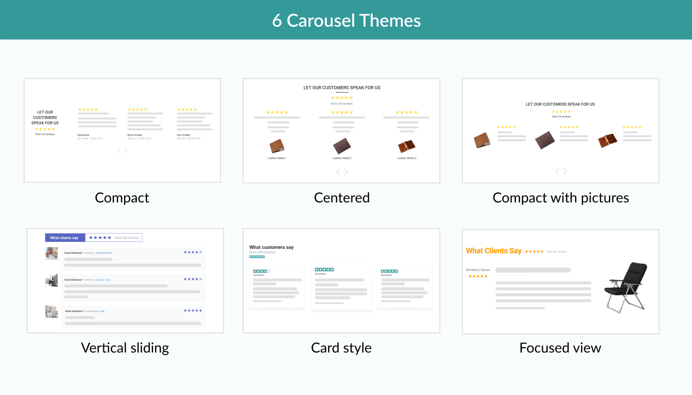 Judge.me Features - Choose among 6 carousel themes