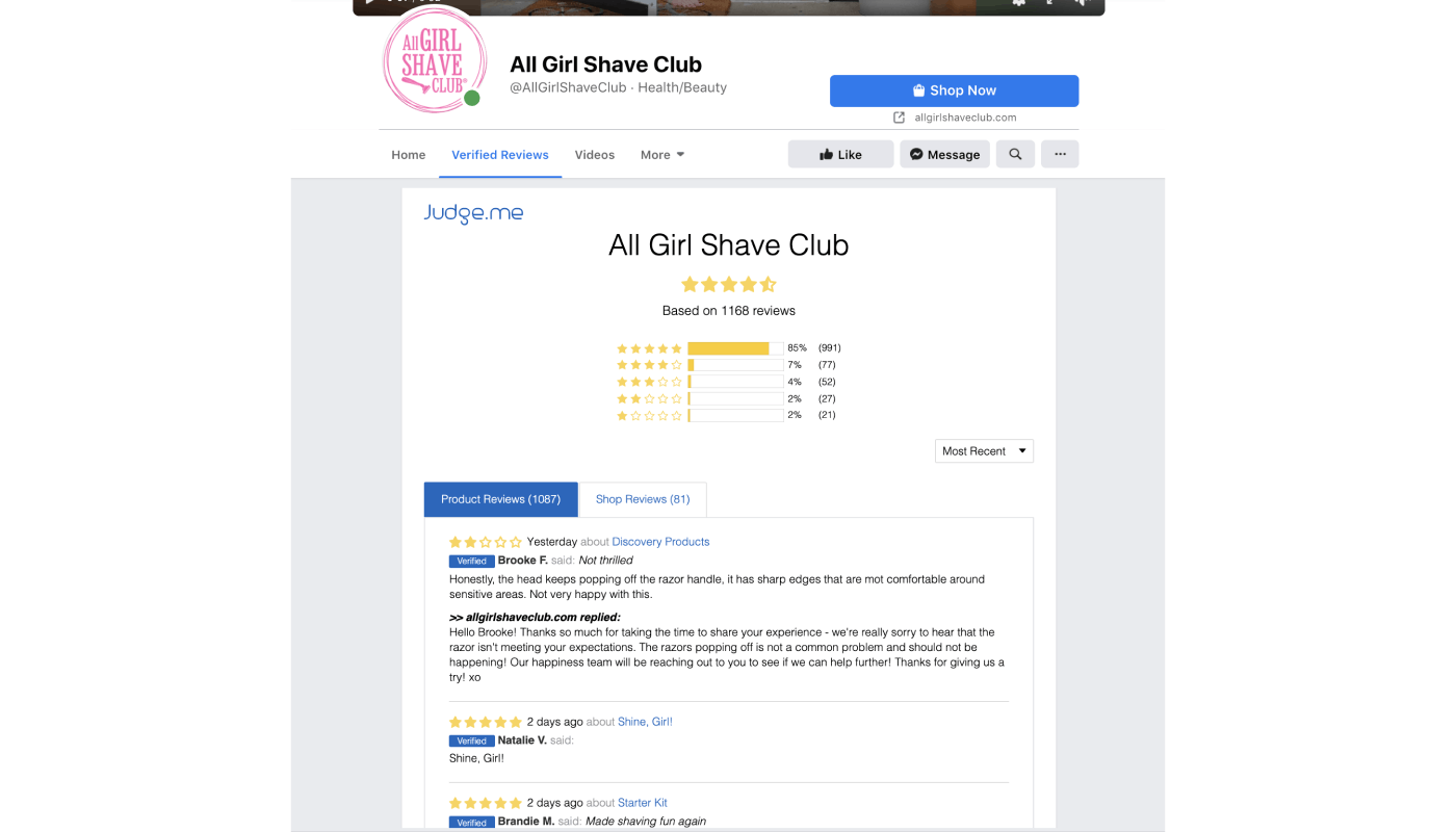 Judge.me Features - Facebook Reviews Tab